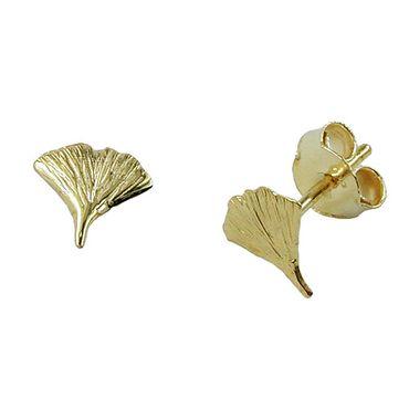 Stecker 7mm Ginkgoblatt glänzend 9Kt GOLD – Bild 3