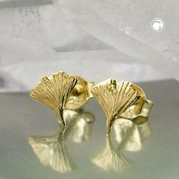 Stecker 7mm Ginkgoblatt glänzend 9Kt GOLD – Bild 2