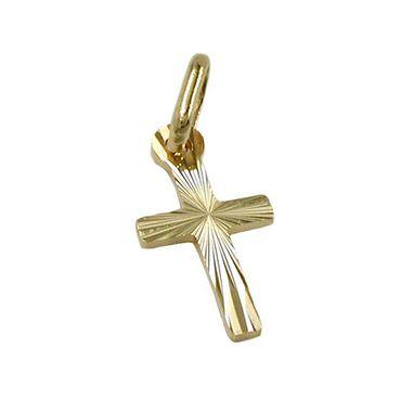 Anhänger 14x7mm Kreuz diamantiert 14Kt GOLD – Bild 3