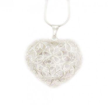 ASS 925 Silber Damen Anhänger Plain Herz durchbrochen glanz, Blumen Muster SET mit Kette. NEU – Bild 1