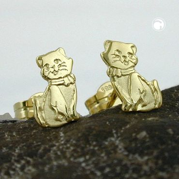 Stecker, Katzen teil-mattiert 8Kt GOLD – Bild 2