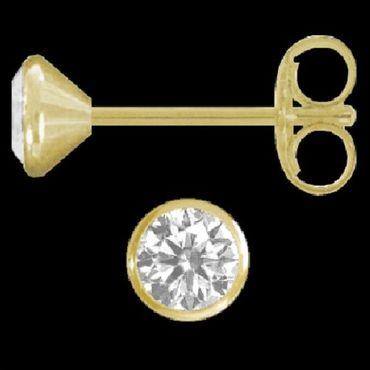 ASS 750 Gold Paar Ohrstecker Kelch Gelbgold 3,5mm mit gefassten Zirkonien – Bild 2
