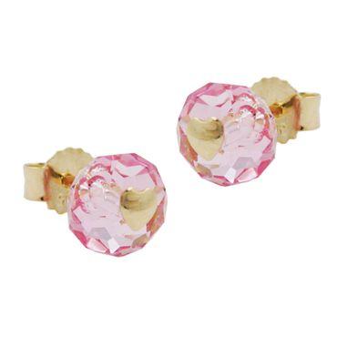 Stecker, Glas-rosa-pink Herz 14Kt GOLD – Bild 1