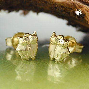 Stecker, Katzen matt-glänzend, 9Kt GOLD – Bild 2