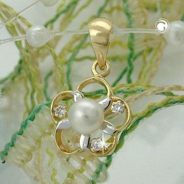 ASS 375 Gold Anhänger Ketteanhänger Blume mit Perle ca.4mm, Zirkonias, bicolor – Bild 2