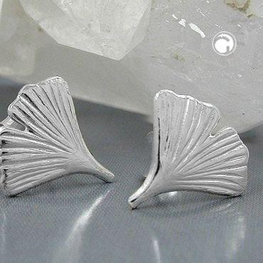 Stecker 12mm Ginkgoblatt glänzend Silber 925 – Bild 2