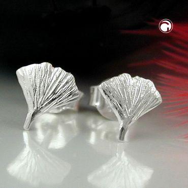 Stecker 7mm Ginkgoblatt glänzend Silber 925 – Bild 2