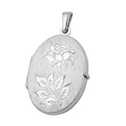 Anhänger - Medaillon, Rose - rhodiniert - Silber 925 – Bild 4