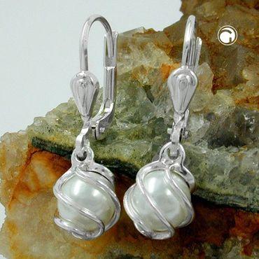 Brisur Perle Imitat-weiß 6mm Silber 925 – Bild 2