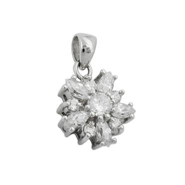 Anhänger, Blume mit Zirkonia-weiß, 925 – Bild 3