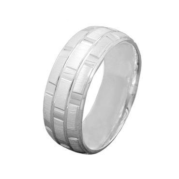 Ring, matt-glänzend, kariert, 925 – Bild 1