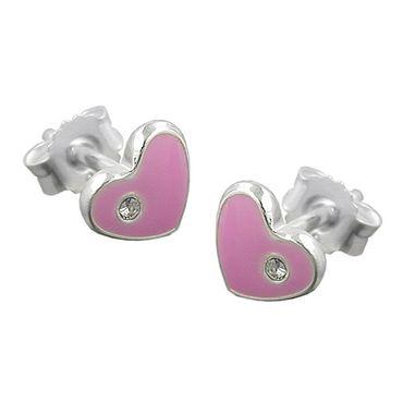 Stecker, Herz pink, Silber 925 – Bild 3