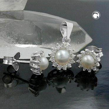 Set, Stecker/Anhänger Perle, Silber 925 – Bild 2