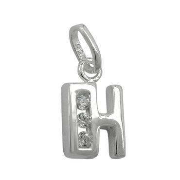 Anhänger Buchstabe H glänzend mit Zirkonias Silber 925 – Bild 1