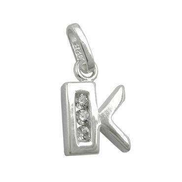 Anhänger Buchstabe K glänzend mit Zirkonias Silber 925 – Bild 1