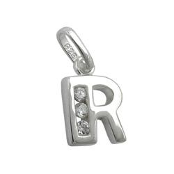 Anhänger Buchstabe R glänzend mit Zirkonias Silber 925 – Bild 4