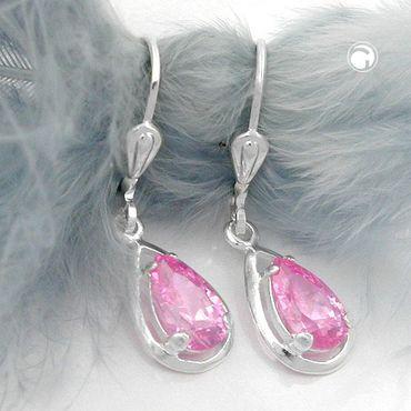 Brisur, Zirkonia pink, Silber 925 – Bild 2