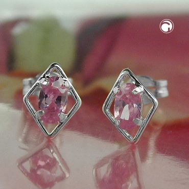 Stecker Rhombus pink Zirkonia Silber 925 – Bild 2