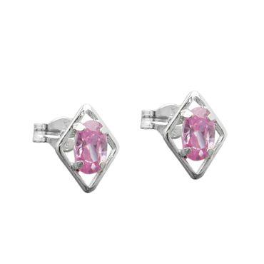 Stecker Rhombus pink Zirkonia Silber 925 – Bild 1