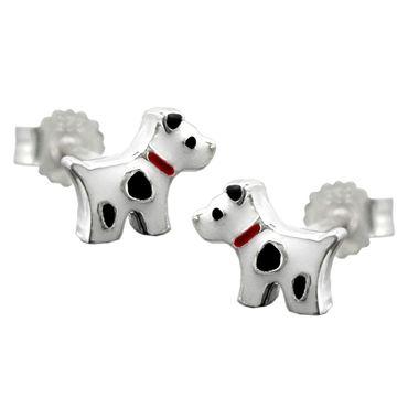 Stecker, Hund mit Flecken, Silber 925 – Bild 1