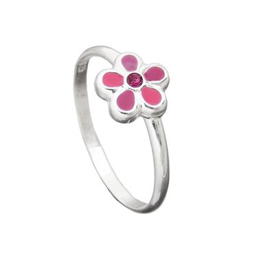 Kinderring, Blume pink, Silber 925 – Bild 1