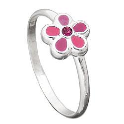 Kinderring, Blume pink, Silber 925 – Bild 4