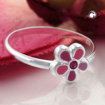 Kinderring, Blume pink, Silber 925 – Bild 2