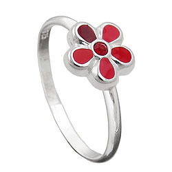 Kinderring Blume rot Silber 925 – Bild 4