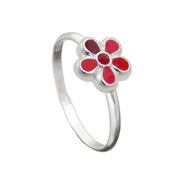 Kinderring Blume rot Silber 925 – Bild 1