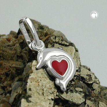 Anhänger, Delfin, Herz rot, Silber 925 – Bild 2