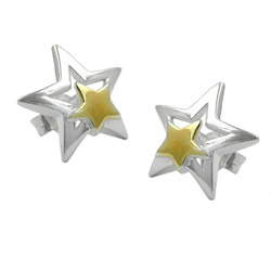 Stecker, Stern bicolor, Silber 925 – Bild 4