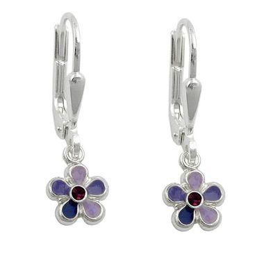 Brisur, Blume lila-lackiert Silber 925 – Bild 3