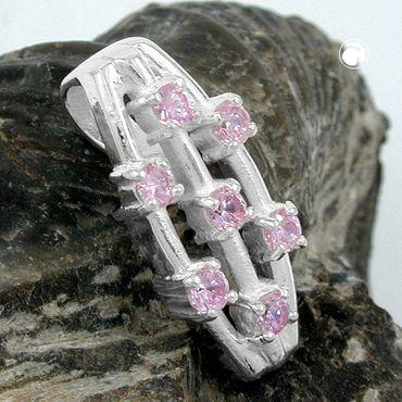 Anhänger, 7x Zirkonia pink, 925 – Bild 2