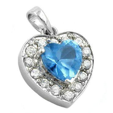 Anhänger Herz Zirkonia blue, Silber 925 – Bild 3