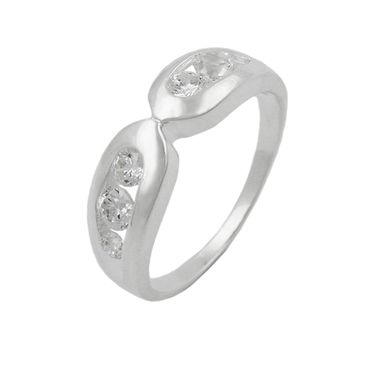 Ring, 6mm mit 6x Zirkonia, Silber 925 – Bild 1