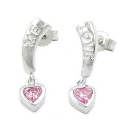 Stecker, LOVE, Zirkonia-pink, Silber 925 – Bild 4