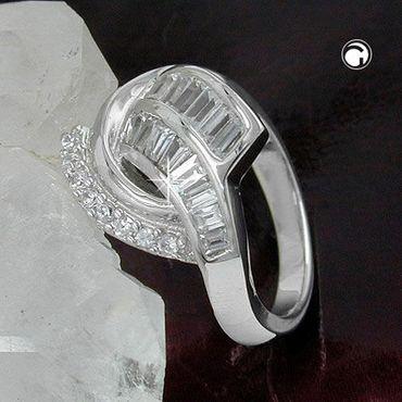 Ring, Zirkonias, rhodiniert Silber 925 – Bild 2