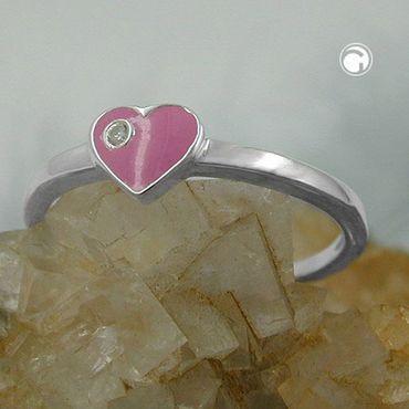 Kinderring Herz-pink Zirkonia Silber 925 – Bild 2