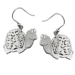 Ohrhaken, Schildkröte, Silber 925 – Bild 4