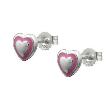 Stecker, kleines Herz rosa, Silber 925 – Bild 3