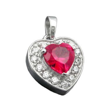 Anhänger, Herz Zirkonia rot, Silber 925 – Bild 1