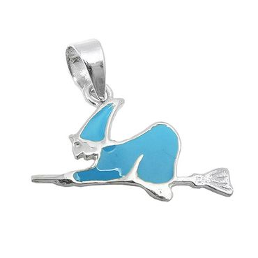 Anhänger Hexe blau-emailliert Silber 925 – Bild 3