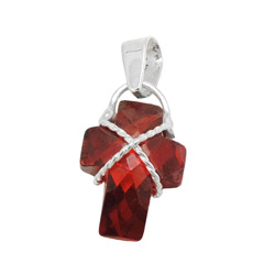 Anhänger, Kreuz granatfarbig, Silber 925 – Bild 4