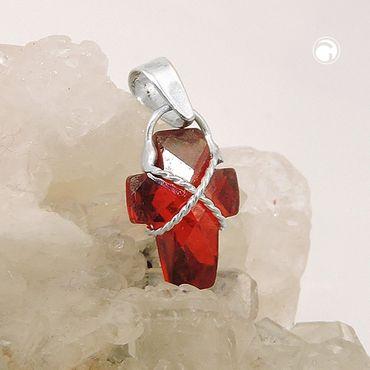 Anhänger, Kreuz granatfarbig, Silber 925 – Bild 2