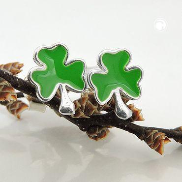 Stecker, Kleeblatt grün, Silber 925 – Bild 2
