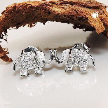 Stecker, Elefant, Zirkonia, Silber 925 – Bild 2
