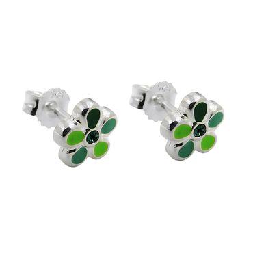Stecker, Blume grün-lackiert Silber 925 – Bild 1