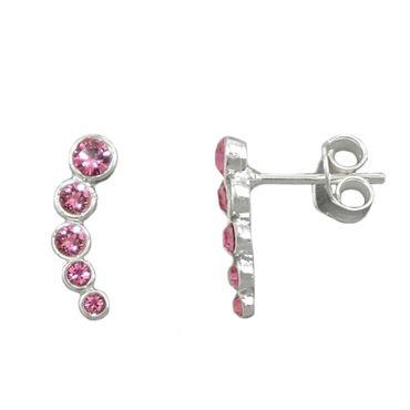 Stecker, 5 Glas-Steine pink, Silber 925 – Bild 1