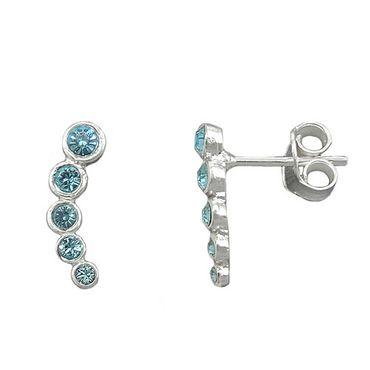 Stecker, 5 Glas-Steine blau, Silber 925 – Bild 3