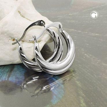 Creole 13mm bauchig Drahtcreole mit Bügelverschluss Silber 925 – Bild 2